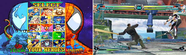 Crossovers often take on the form of fighting games, such as Marvel vs. Capcom (left) and Tatsunoko vs. Capcom (right).