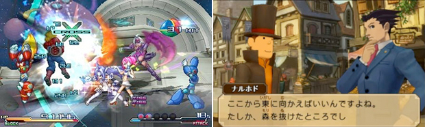 Upcoming 3DS titles Project X Zone (left) and Professor Layton vs. Ace Attorney (right) are part of a new wave of crossovers.