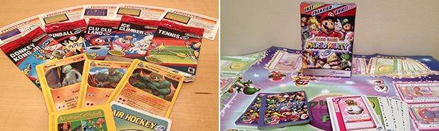 Left: A variety of e-Reader cards including Pokemon and NES games. Right: Mario Party-e came with a board and more.