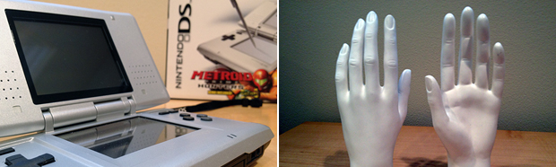"Left: The original DS in all its bulky glory. Right: Mannequin hands sent out as part of the ""touching is good"" campaign."