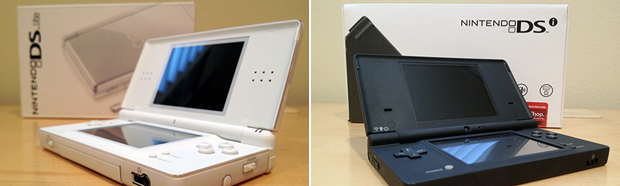 Nintendo's major DS hardware revisions: DS Lite (left) and DSi (right).