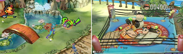 Captain Rainbow features yo-yo attacks (left) and a very obese Little Mac (right).