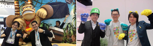 A sample of Nintendo's meme-style moments at E3 2013. Left: Miyamoto, Iwata, and Fils-Aime with Donkey Kong. Right: Iwata,[], and [] dressed as Cat Mario.