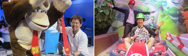 More quirky E3 photos from Nintendo. Left: Tanabe poses with Donkey Kong. Right: Konno and Mario Kart 8 director Kosuke Yabuki.
