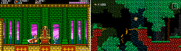 The retro throwback continues on Wii U with Shovel Knight (left) and 1001 Spikes (right).