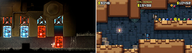 Platformers can come in many shapes and sizes, such as Teslagrad for Wii U (left) and Treasurenauts for 3DS (right).