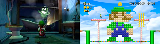 Luigi took on a starring role in Luigi's Mansion: Dark Moon (left) and New Super Luigi U (right(