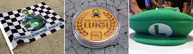 Some of the Year of Luigi swag that Nintendo gave away over the course of the year.