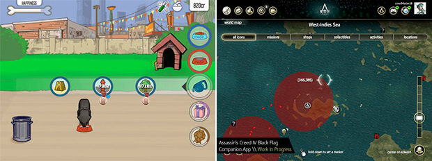 Major games such as GTA and Assassin's Creed got companion apps for training dogs (left) and monitoring the high seas (right).