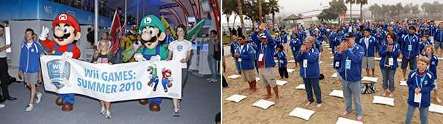 Like the Olympics itself, the Wii Games offered plenty of spectacle: an opening ceremony (left) and a competitor Wii Fit warm-up (right).