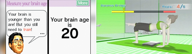 Casual games like Brain Age (left) and Wii Fit (right) dominated the DS and Wii, but have had trouble on 3DS and Wii U.