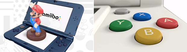 The New 3DS is packed with all sorts of control inputs (left), including a new second analog stick (right).